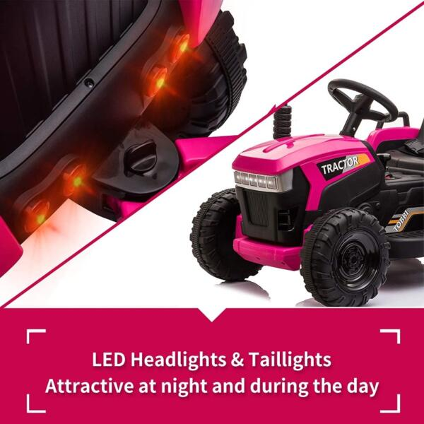 12V Battery-Powered Toy Tractor with Trailer and LED Lights 4 45