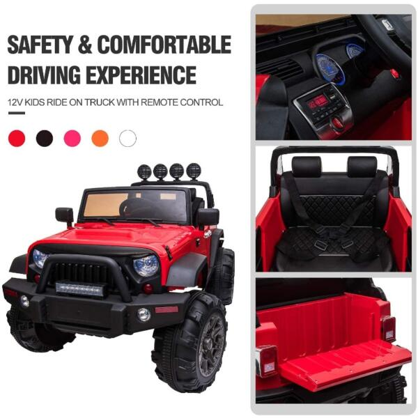 12V Ride On Truck Cars Battery Operated Electric Cars w/ Music, Horn 4 46