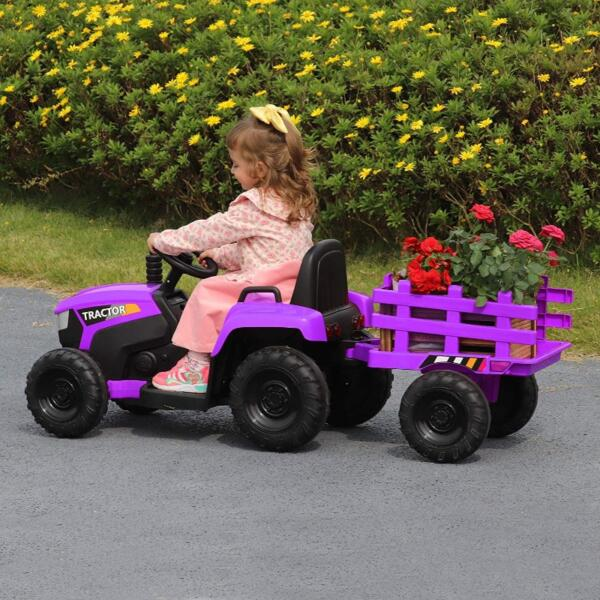 12V Battery-Powered Electric Tractor Kids Ride on Toy Gift, Purple 4 52