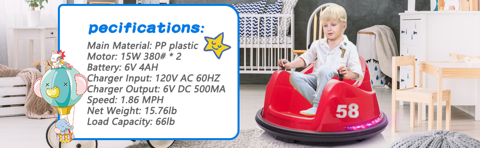 6V Electric Ride On 360 Spin Bumper Car for Kids with Remote Control, Red 4 53