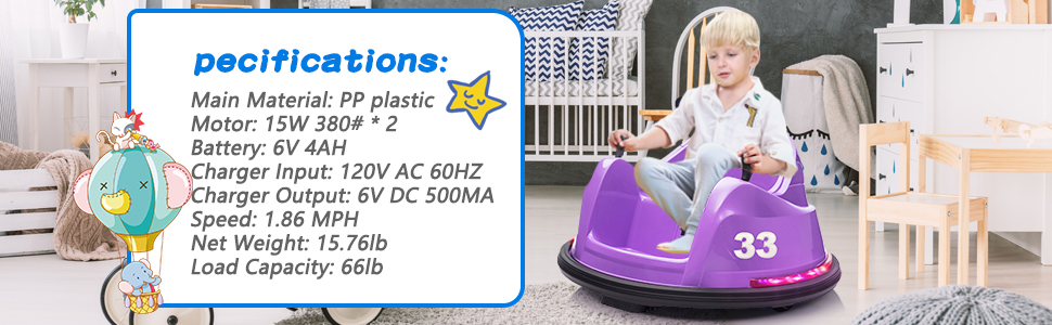 Kid's Electric Ride On 360 Spin Bumper Car with Remote Control, Purple 4 65