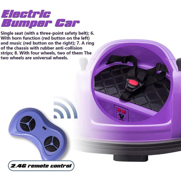 Kid's Electric Ride On 360 Spin Bumper Car with Remote Control, Purple 4 66