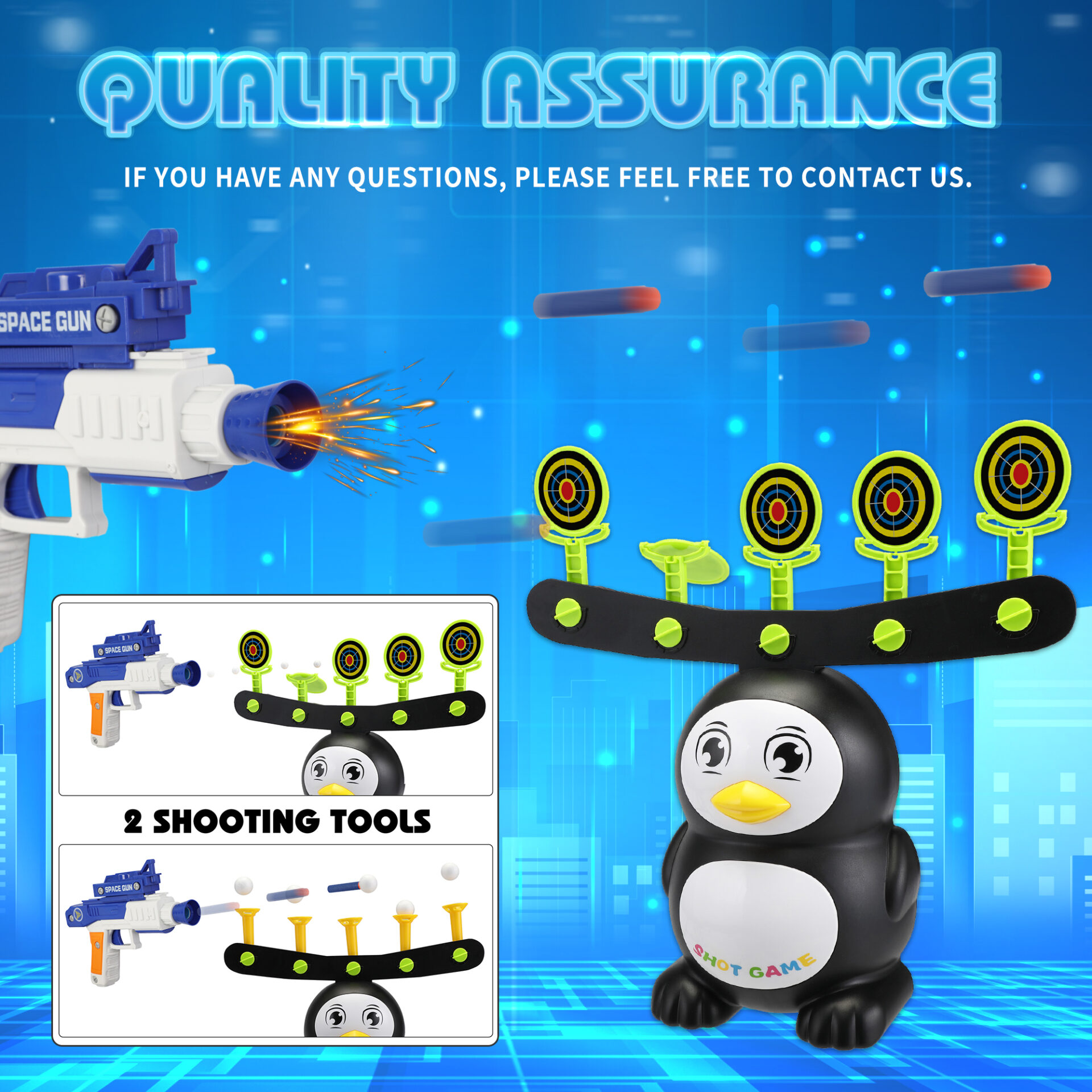 Penguin Shooting Games Target Practice Toys for Kids 4 7