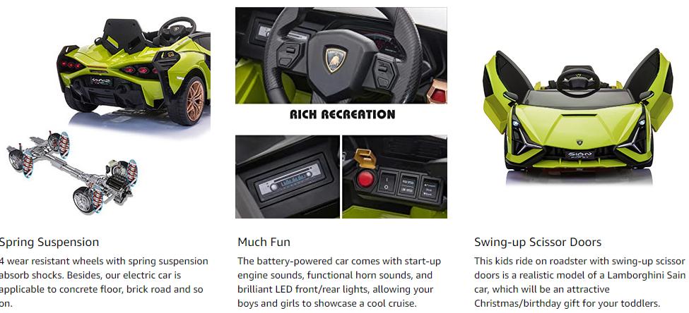 12V Licensed Lamborghini Sian Children's Electric Ride On Car, Green 4 7
