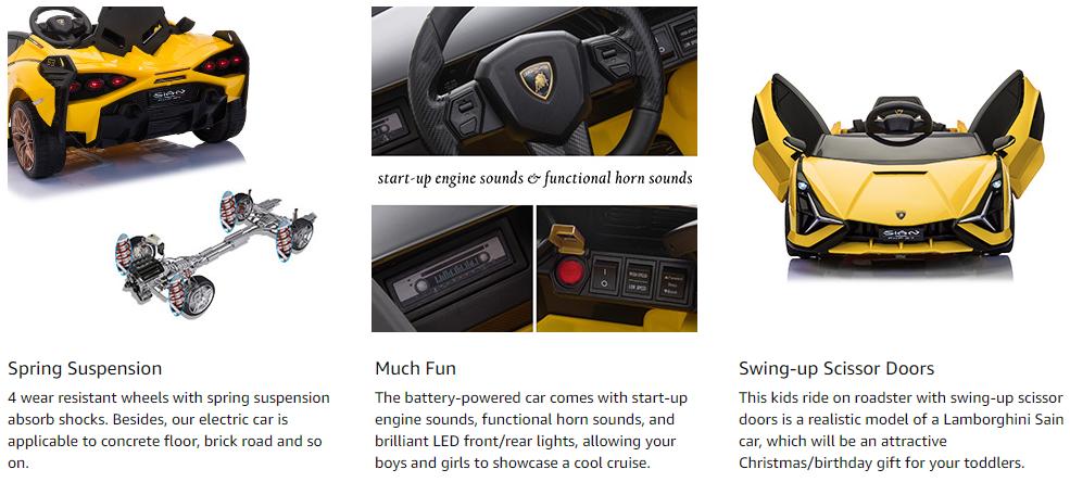 Licensed Lamborghini Sian Car Toy w/ Scissor Door 4 8