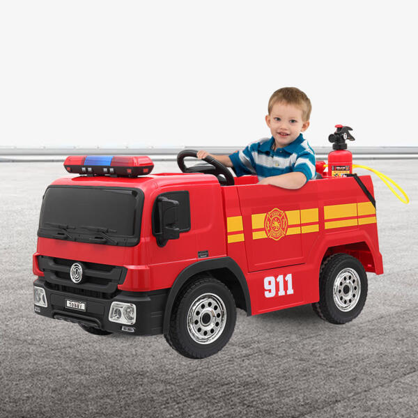 12V Kids Ride on Toys Fire Truck Real Driving Experience with Remote Control, Red 4 82