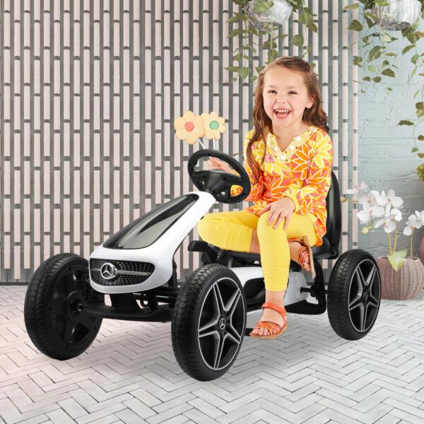 Mercedes Benz Kids Go Kart Ride On Car For Children, White 4 85