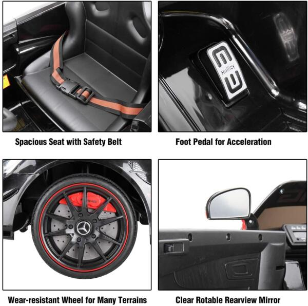 12V Electric Licensed Mercedes Benz AMG GT Kid Ride on Car, Black 4 88
