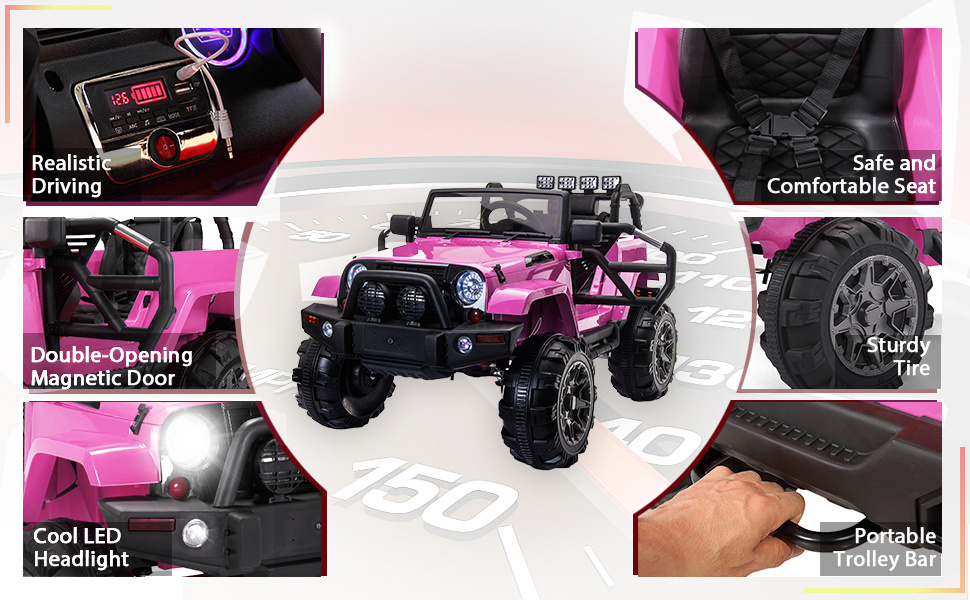 12V Battery Ride on Jeep Truck with 3 Speed 4 95