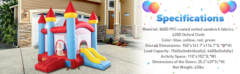 Inflatable Bounce House Jumping Castle with Slide 42a95721 923d 41b7 a95c dc731720872a. CR00970300 PT0 SX970 V1