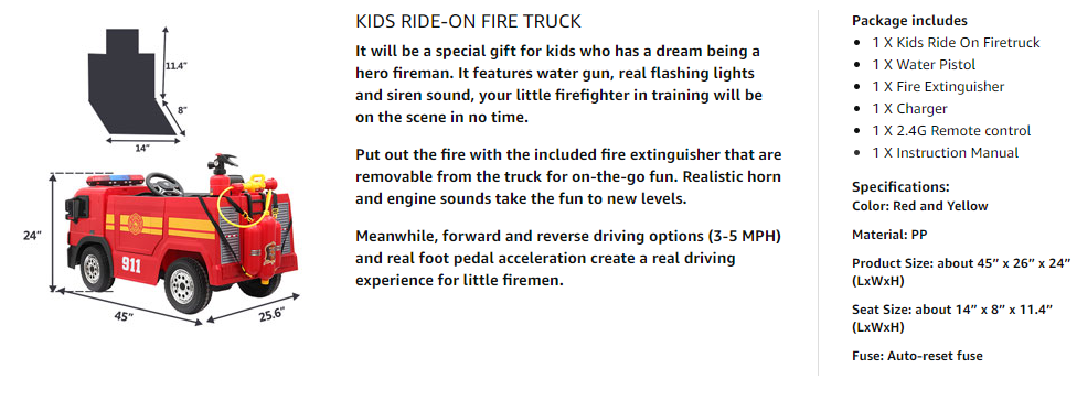 12V Kids Ride on Toys Fire Truck Real Driving Experience with Remote Control, Red 43