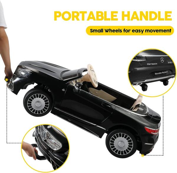 TOBBI 12V Ride on Car with Remote Control, Mercedes-Maybach S650 Electric Ride on Vehicles Cars for Kids w/ MP3 Bluetooth, Black 5 14