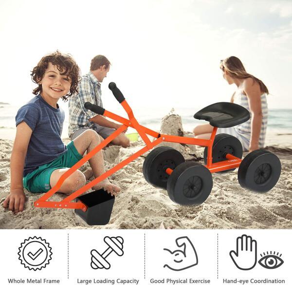 Kids Ride On Sandbox Digger Toys Little Sandbox Excavator for Boys and Girls, Orange 5 17