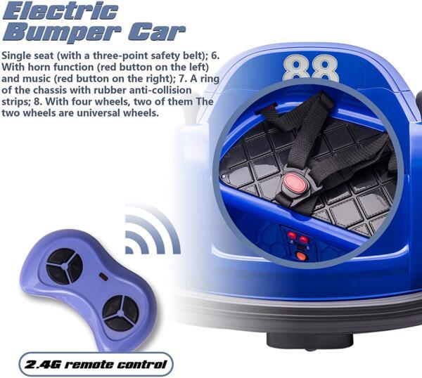 6V Electric Baby Bumper Car with Remote Control, Dark Blue 5 27