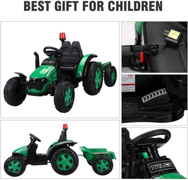 12V Electric Kids Ride on Tractor with Trailer for Boys and Girls, Jade Green 5 31