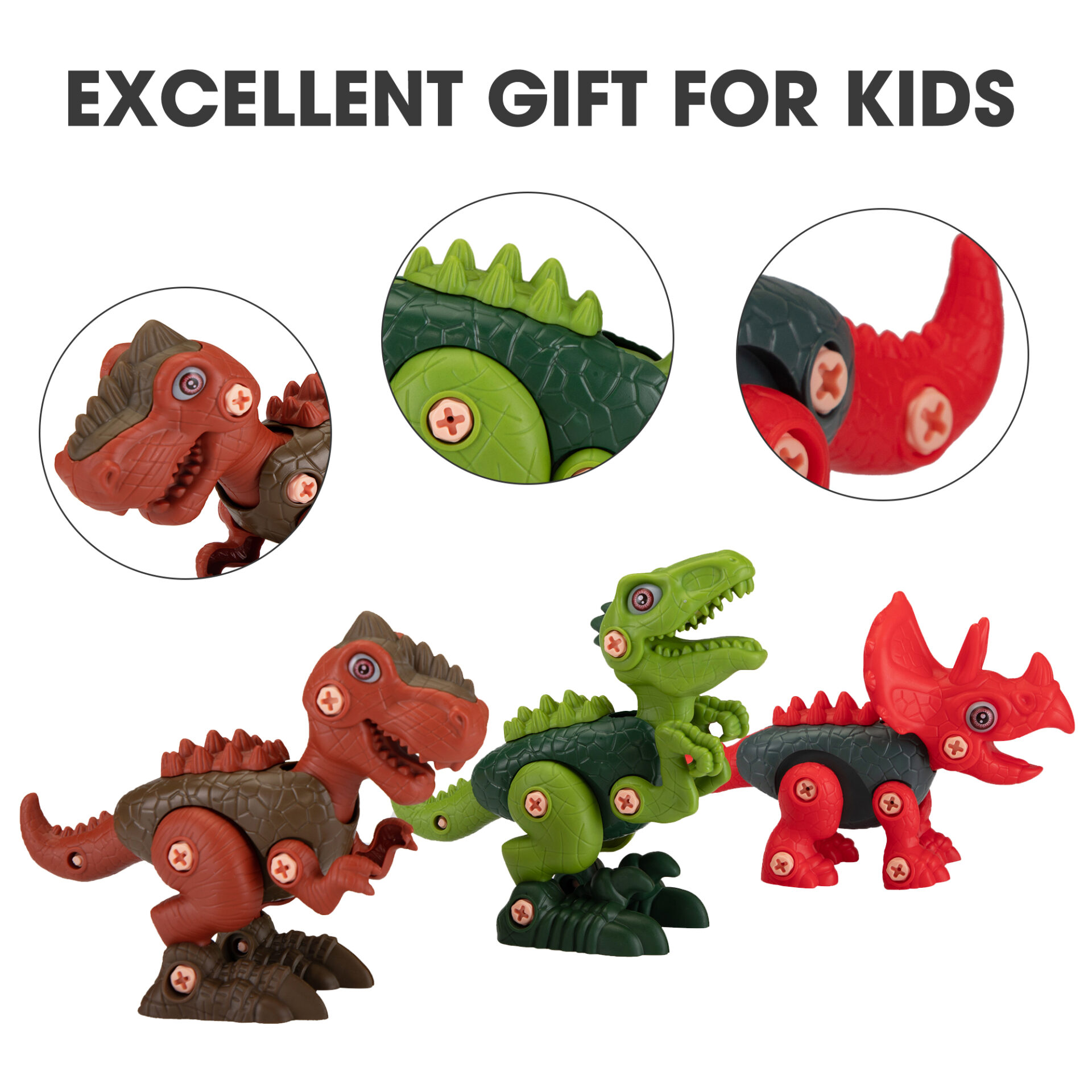 3 Packs Dinosaurs Construction Building Toy Set 5 4