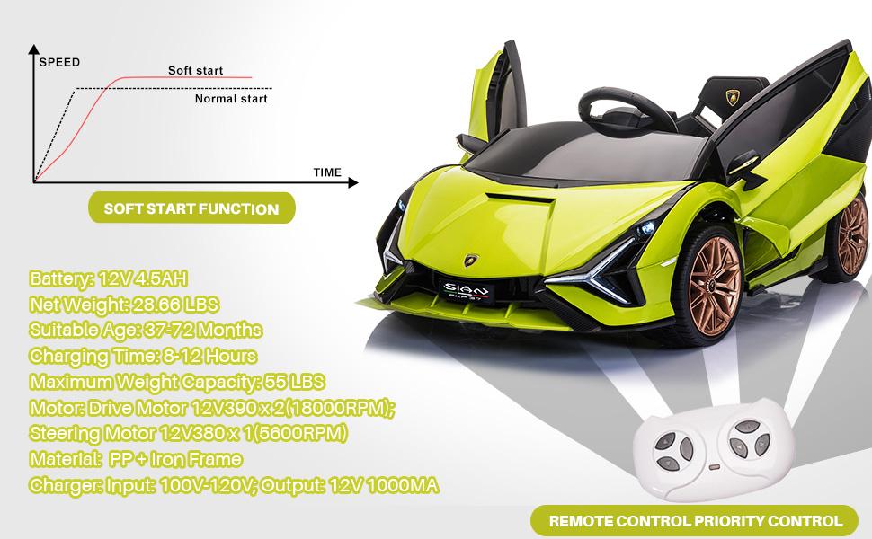 12V Licensed Lamborghini Sian Children's Electric Ride On Car, Green 5 47
