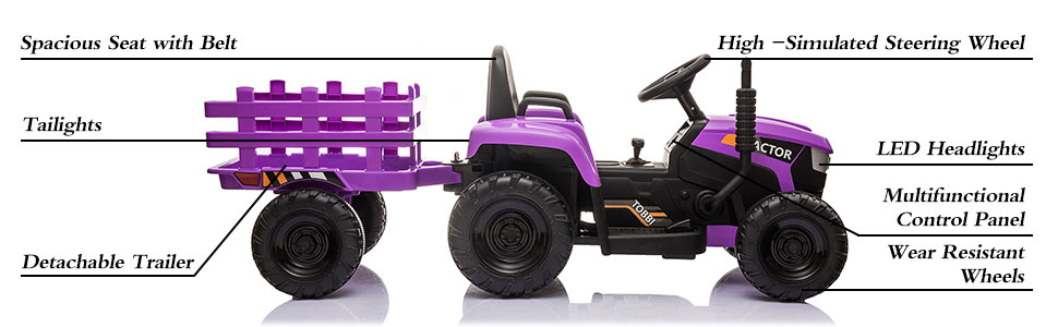12V Battery-Powered Electric Tractor Kids Ride on Toy Gift, Purple 5 50