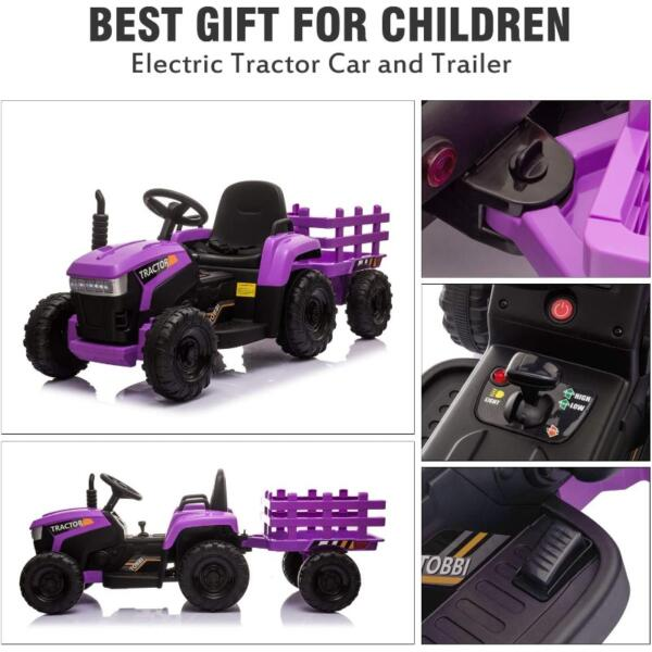 12V Battery-Powered Electric Tractor Kids Ride on Toy Gift, Purple 5 51
