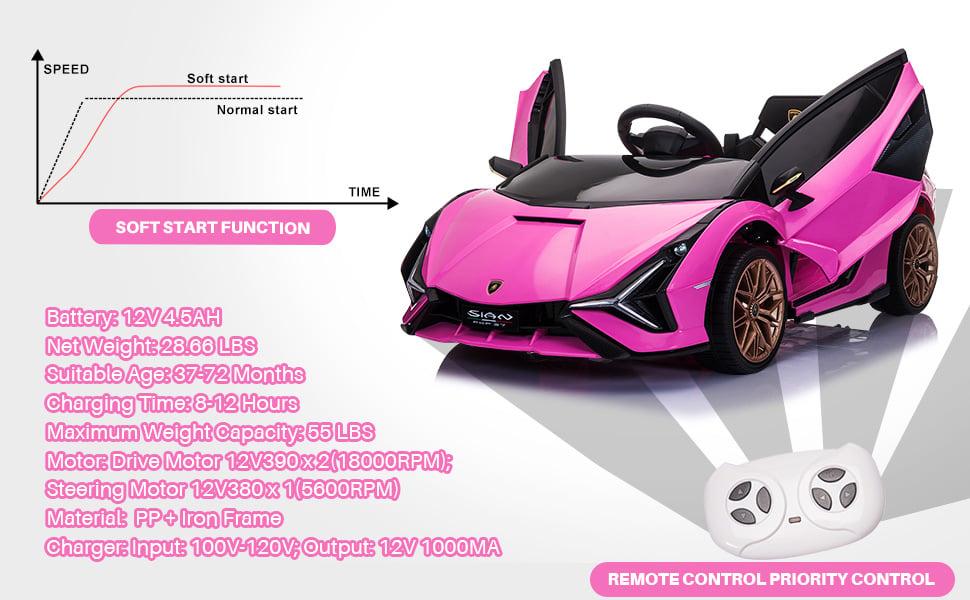 12V Kids Car Licensed Lamborghini Sian with Remote Control for Girls 5 60