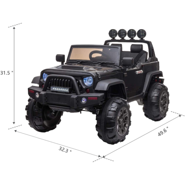 12V Battery Operated Kids Ride On Truck with Remote Control, Black 5