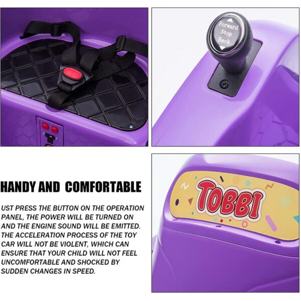 Kid's Electric Ride On 360 Spin Bumper Car with Remote Control, Purple 5 67