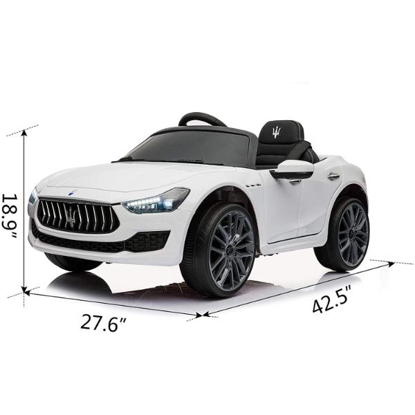 Maserati Kids Car 12V Ride On With Remote, White 5 7