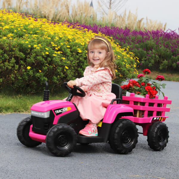 12V Battery-Powered Toy Tractor with Trailer and LED Lights 5 82