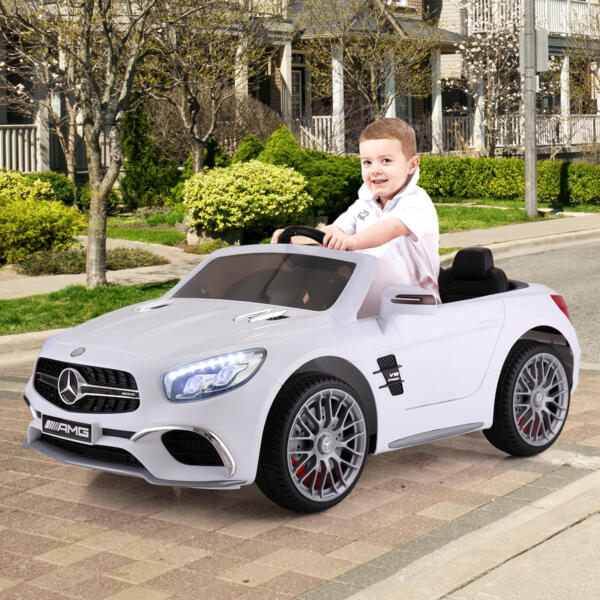 12V Mercedes Benz 2 Seater Kids Power Wheels With Remote, White 5 87