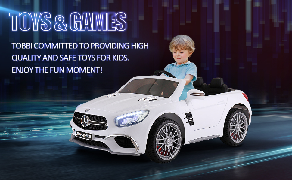 12V Mercedes Benz 2 Seater Kids Power Wheels With Remote, White 5 92