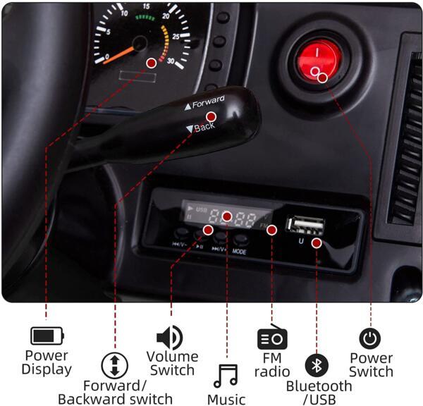 6V Mercedes Benz Unimog U500 Kids Ride on SUV Car with Remote Control, Black 5 96