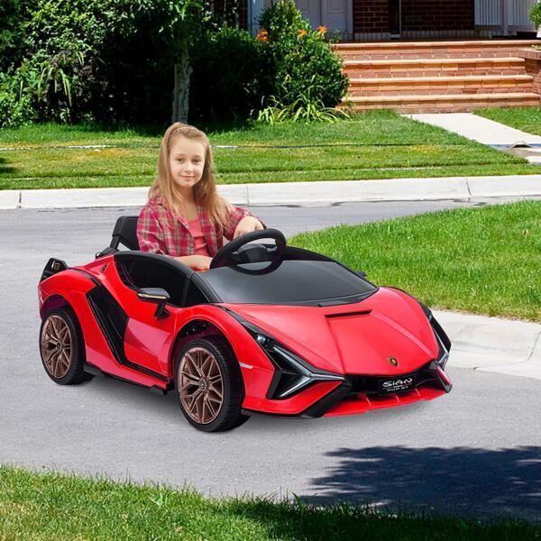 12V Lamborghini Sian Electric Kids Ride On Car with Remote Control, Red 6 15