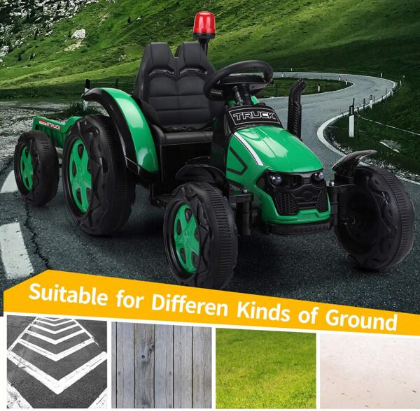 12V Electric Kids Ride on Tractor with Trailer for Boys and Girls, Jade Green 6 29