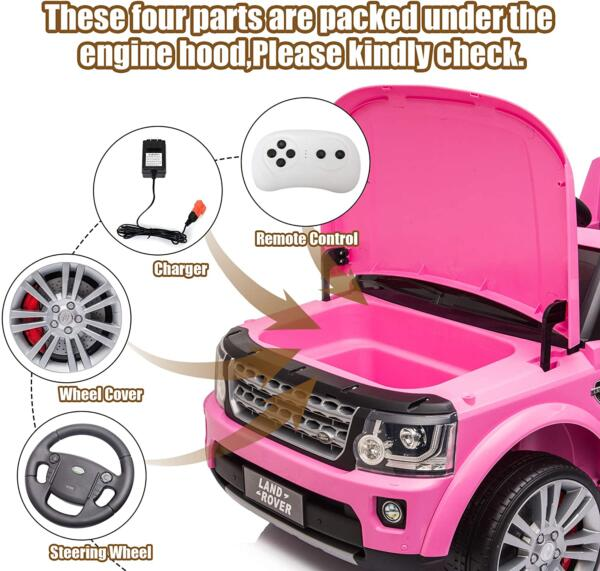 12V Licensed Land Rover Power Wheels Ride on SUV for Kids with Remote Control, Pink 6 30