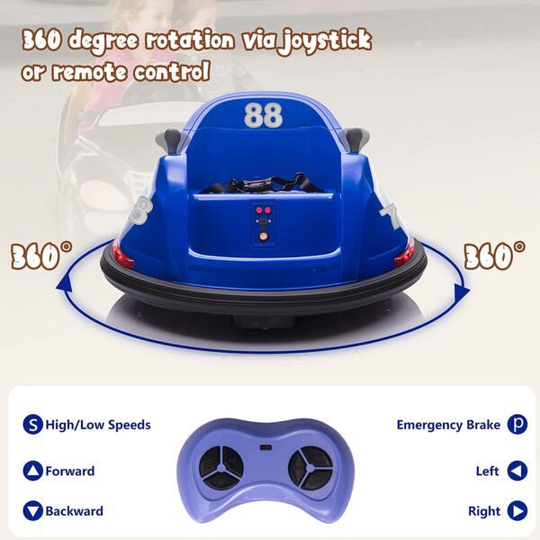 6V Electric Baby Bumper Car with Remote Control, Dark Blue 6 32