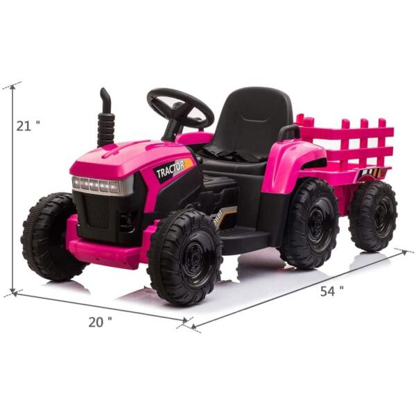 12V Battery-Powered Toy Tractor with Trailer and LED Lights 6 43