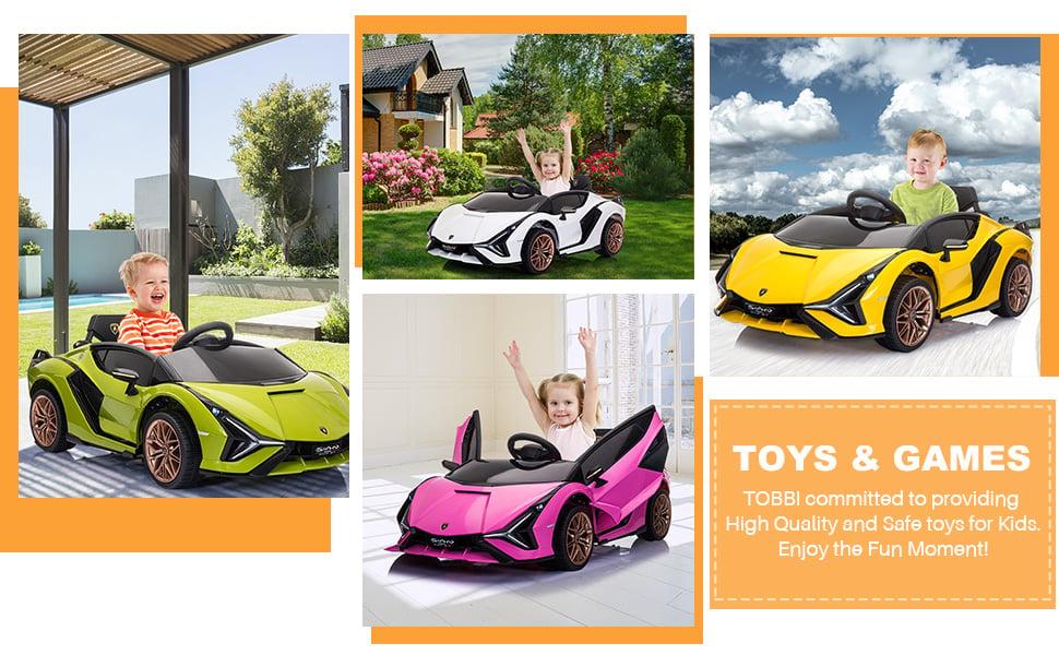 12V Licensed Lamborghini Sian Children's Electric Ride On Car, Green 6 47