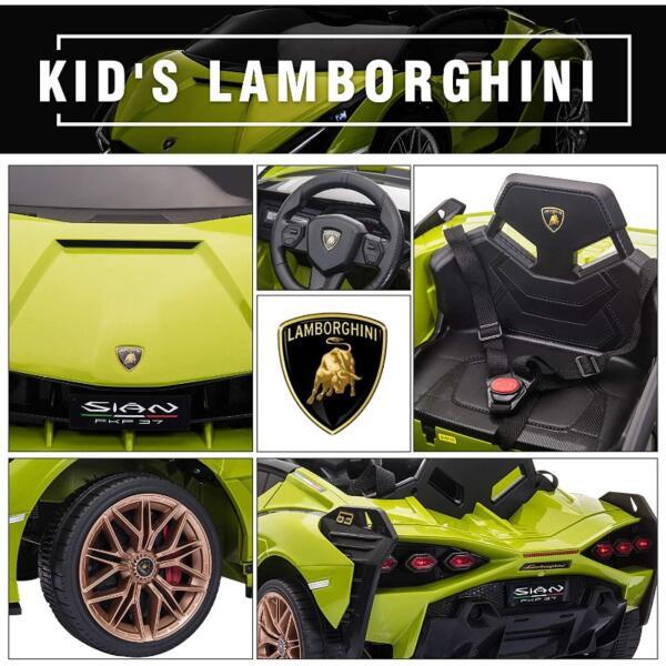 12V Licensed Lamborghini Sian Children's Electric Ride On Car, Green 6 48