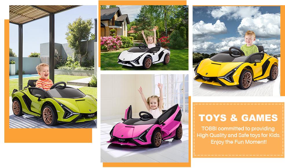 12V Kids Car Licensed Lamborghini Sian with Remote Control for Girls 6 5