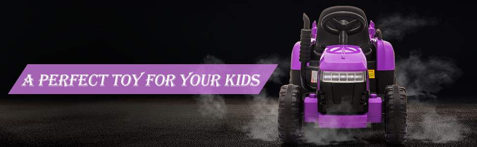 12V Battery-Powered Electric Tractor Kids Ride on Toy Gift, Purple 6 50