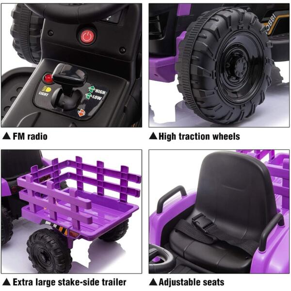 12V Battery-Powered Electric Tractor Kids Ride on Toy Gift, Purple 6 51