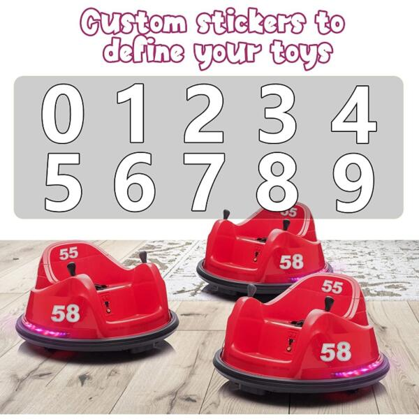 6V Electric Ride On 360 Spin Bumper Car for Kids with Remote Control, Red 6 52