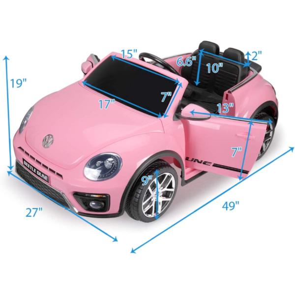 12V Licensed Volkswagen Beetle Dune Kids Electric Car with Remote Control, Pink 6