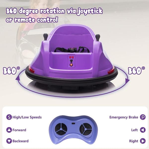Kid's Electric Ride On 360 Spin Bumper Car with Remote Control, Purple 6 61