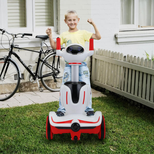 Three-in-one Robot Kids Electric Buggy With Baby Carriages, Red + White 6 76
