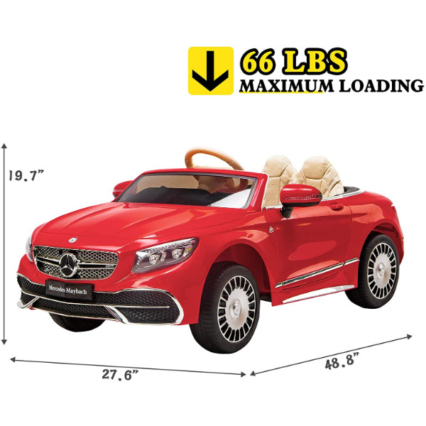 12V Mercedes-Maybach Kids Ride on Car with Remote Conrtol, Red 6 8 2