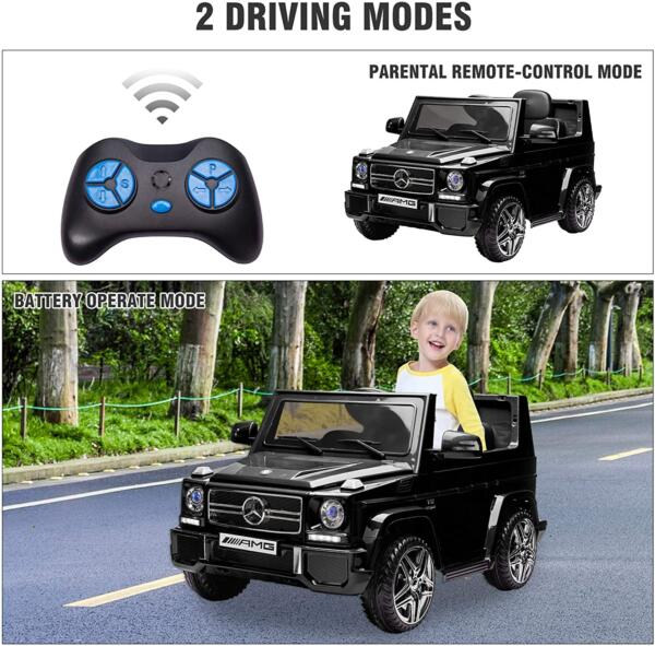 12V Benz AMG G63 Electric Ride On Car for Kids with Remote Control, Black 6 9