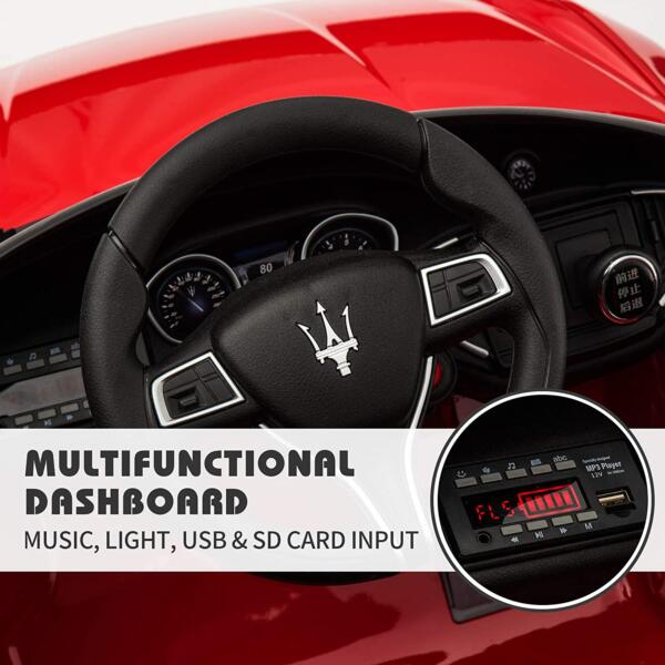 Maserati Kids Car 12V Ride On With Remote, Red 6 93