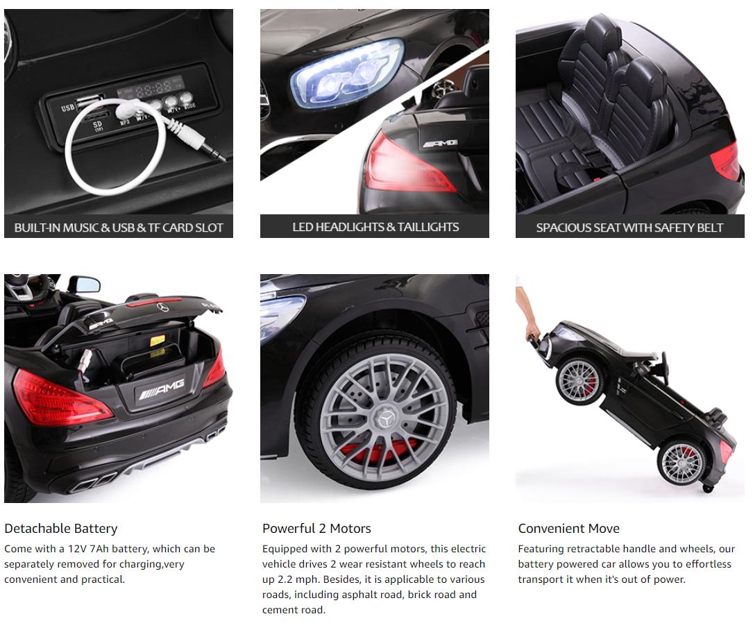 12V Mercedes Benz Licensed Kids Ride On Car with Remote Control, Black 66 1