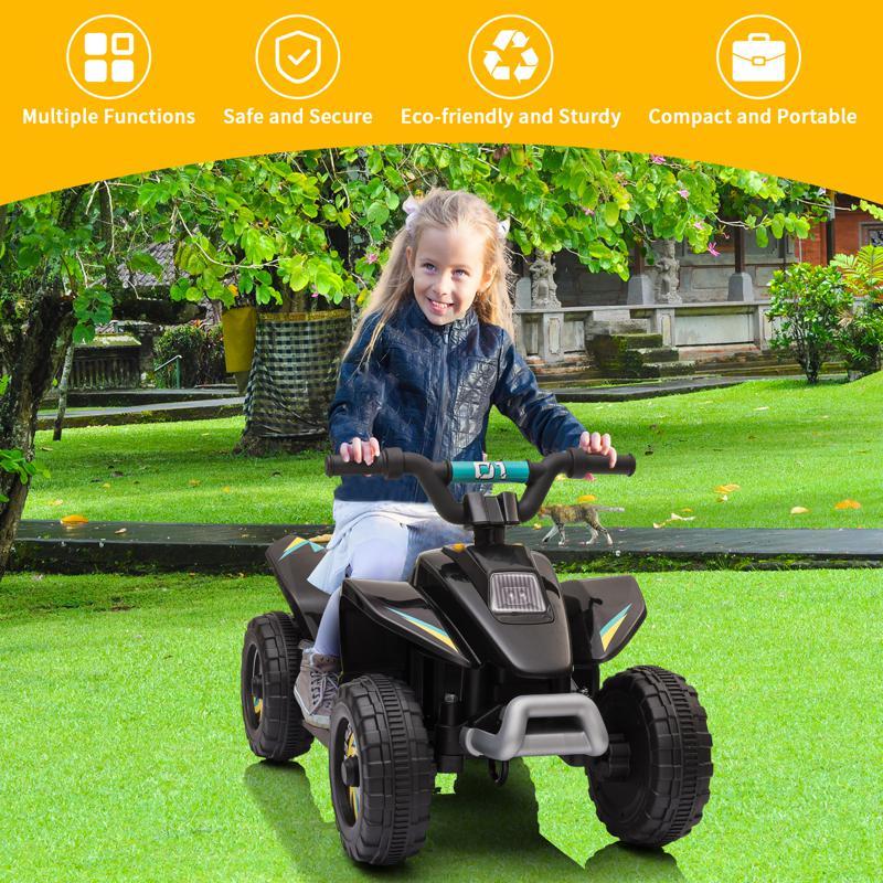 6V Electric Ride on Quad ATV For Kids, Black 6v kids 4 wheeler quad ride on atv black 15